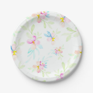 Pink Watercolor Flowers 7 Inch Paper Plate