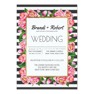 Pink Watercolor Flowers and Stripes Wedding Card