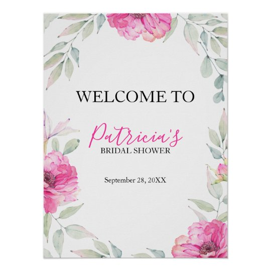 Pink Watercolor Flowers Bridal Shower Welcome Sign
