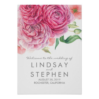 Pink Watercolor Flowers Chic Wedding Welcome Sign