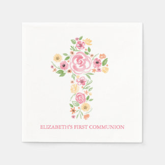 Pink Watercolor Flowers Cross First Communion Paper Napkin