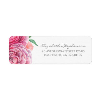 Pink Watercolor Flowers Elegant Wedding Return Address Label