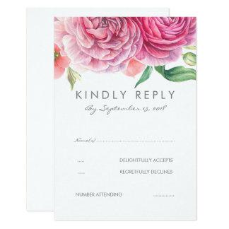 Pink Watercolor Flowers Elegant Wedding RSVP Card
