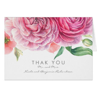 Pink Watercolor Flowers Elegant Wedding Thank You Card