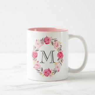 Pink Watercolor Flowers & Faux Gold Foil Monogram Two-Tone Coffee Mug