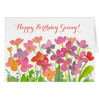 Pink Watercolor Flowers Happy Birthday Custom Name Card