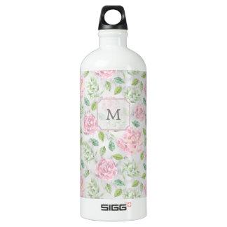 Pink Watercolor Flowers on Faux Marble Look Water Bottle