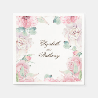 Pink Watercolor Flowers Paper Napkin
