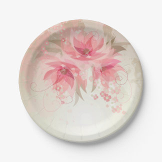 Pink Watercolor Flowers Paper Plate 7 Inch Paper Plate