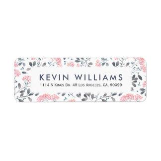 Pink Watercolor Flowers Pattern Return Address Label
