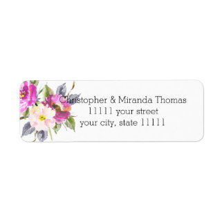 Pink Watercolor Flowers Personalized Return Address Label