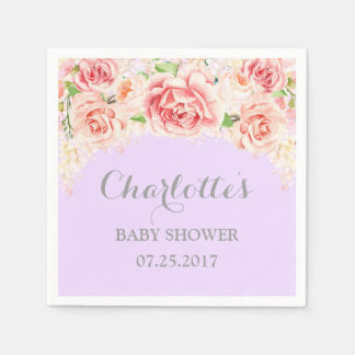 Pink Watercolor Flowers Purple Baby Shower Disposable Napkin
