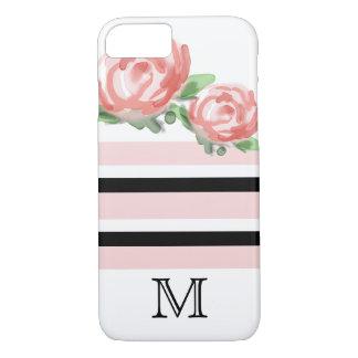 Pink Watercolor Flowers Stripe Pattern Monogram iPhone 8/7 Case