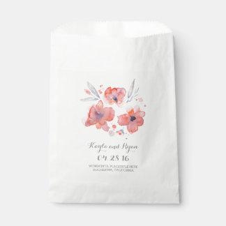 Pink Watercolor Flowers Wedding Favour Bag