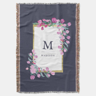 Pink Watercolor Flowers with Gold on Dark Blue