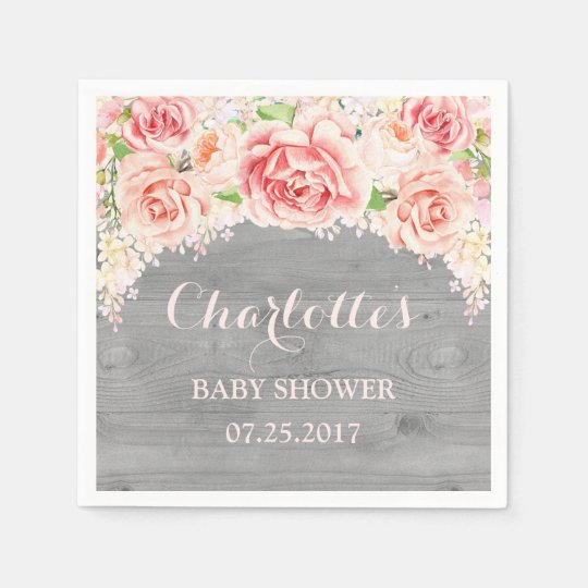 Pink Watercolor Flowers Wood Baby Shower Paper Serviettes