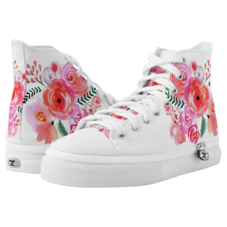 Pink Watercolor flowers Zipz High Top Shoes