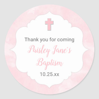 Pink watercolor girl baptism christening favor classic round sticker