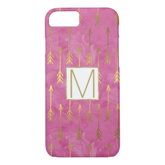 Pink Watercolor Gold Arrows Monogram iPhone 8/7 Case
