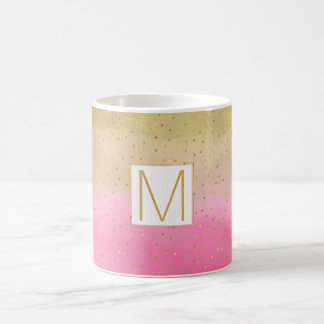 Pink Watercolor Gold Confetti Monogram Coffee Mug