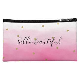 Pink Watercolor Gold Confetti Ombre Beautiful Makeup Bag