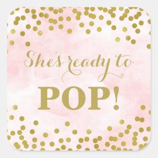 Pink Watercolor Gold Confetti She's Ready to Pop Square Sticker