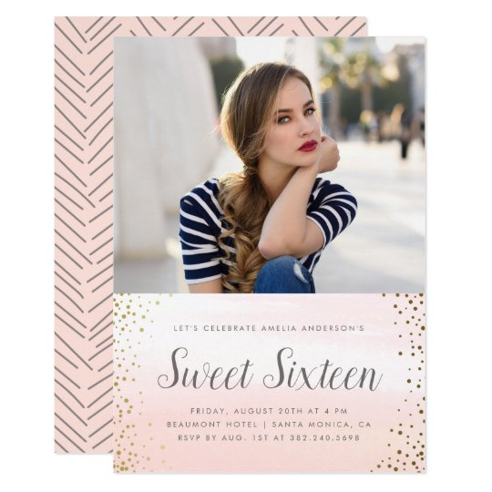 Pink Watercolor & Gold Confetti Sweet 16 Birthday Card