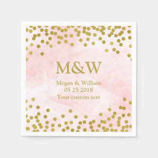 Pink Watercolor Gold Confetti Wedding Napkin Disposable Napkins