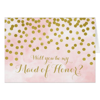 Pink Watercolor Gold Dots Maid of Honour Invite Card
