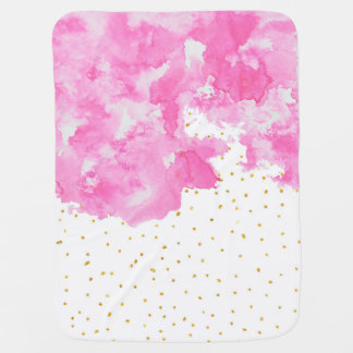 Pink watercolor gold faux glitter polka dots baby blanket