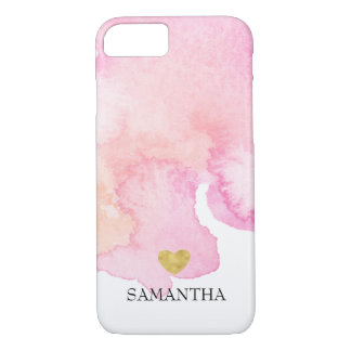 Pink Watercolor Gold Heart Personalized iPhone 8/7 Case