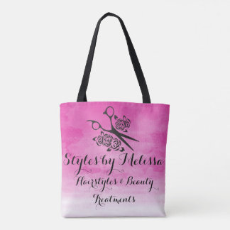 Pink Watercolor Hair Stylist Roses Custom Salon Tote Bag