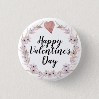 Pink Watercolor Heart and Flower Valentine's Day 3 Cm Round Badge