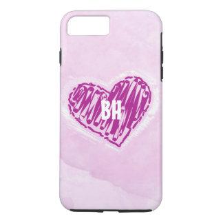 Pink Watercolor Heart Monogrammed iPhone Case