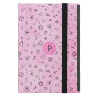 Pink watercolor Hearts and Stars personalized iPad Mini Case