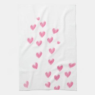Pink Watercolor Hearts - Kitchen Towel
