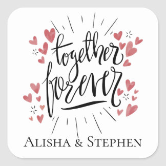 Pink Watercolor Hearts Together Forever Wedding Square Sticker