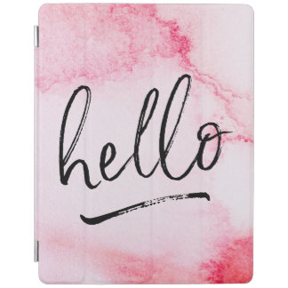 Pink watercolor Hello hand-lettered ipad cover