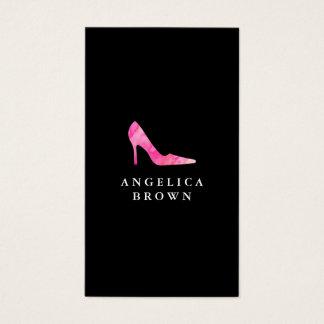 Pink Watercolor High Heel Shoe Business Card