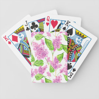 Pink watercolor lilac flowers bicycle playing cards