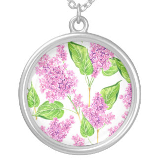 Pink watercolor lilac flowers silver plated necklace
