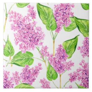 Pink watercolor lilac flowers tile
