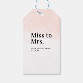Pink Watercolor Minimalist Bridal Shower Tag
