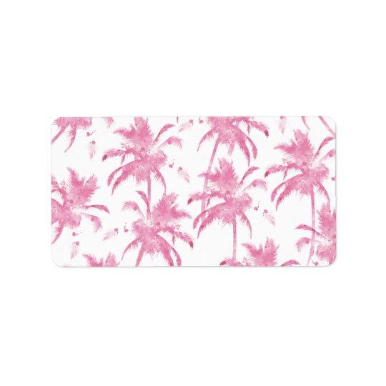 Pink watercolor modern palm tree pattern address label