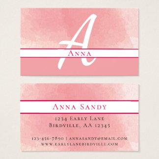 Pink Watercolor Monogram Business Card