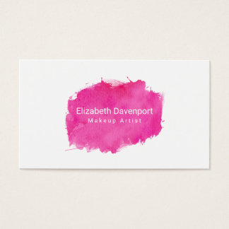 Pink Watercolor Paint Splatter Business Card