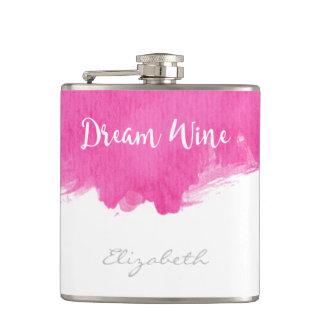 Pink Watercolor Paint Splatter Dream Wine Flask