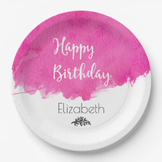 Pink Watercolor Paint Splatter Happy Birthday Paper Plate