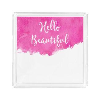 Pink Watercolor Paint Splatter Hello Beautiful