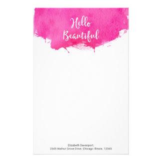Pink Watercolor Paint Splatter Hello Beautiful Stationery